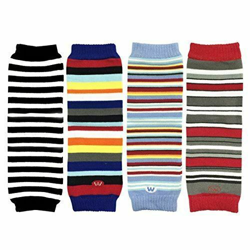 Set of 4 Wrapables Colorful Baby Leg Warmers Black Blue Red Stripes