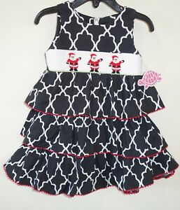 944c852165fe0 Brand New Lolly Wolly Doodle Smocked Santa Holiday Dress / Jumper ...