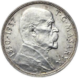 Tschechoslowakei-Muenze-20-Korun-1937-President-Masaryk-1850-1937-Silber