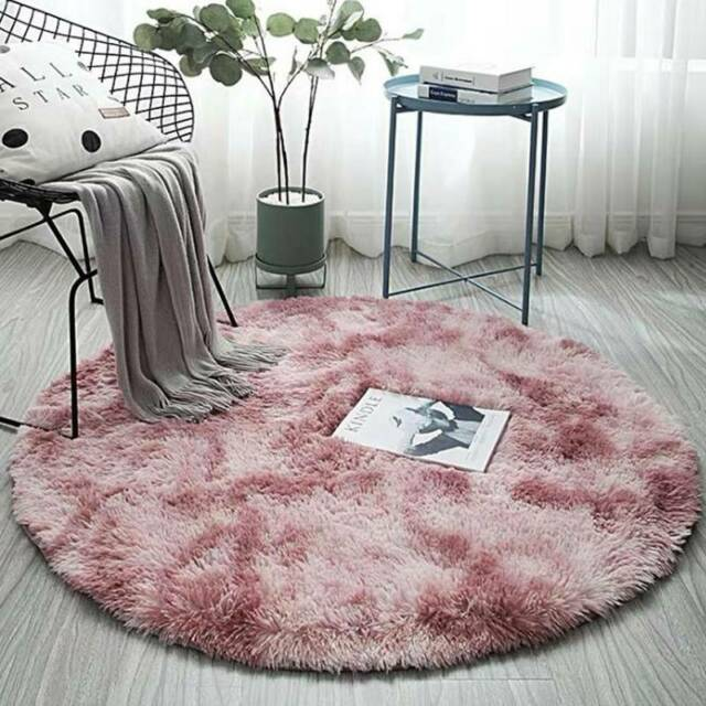 Circle Round Shaggy Rug Bedroom Living