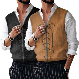 Medieval-Men-039-s-Formal-Waistcoat-Gothic-Victorian-Steampunk-Brocade-Vest-Jackets