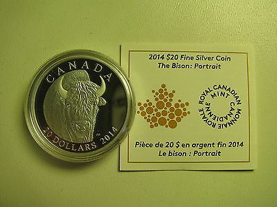 2014 Proof $20 The Bison #1-Portrait Canada .9999 silver COIN ONLY twenty dollar