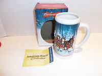Budweiser Anheuser Busch 2007 Holiday Beer Stein Winter Clydesdale Christmas Mug