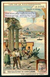 Sicily-Italy-Etna-Catane-Mediterranean-Port-Boats-c1907-Trade-Ad-Card