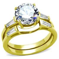 Round Baguette Cz Gold Plate Stainless Steel Wedding Engagement 2 Ring Guard Set