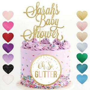 Details about custom baby shower cake topper name personalised customised  gold glitter gender