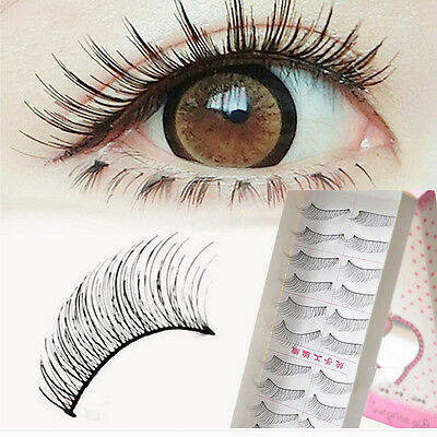 10Pairs Makeup False Eyelashes Soft Natural Cross Long Eye Lashes Extension