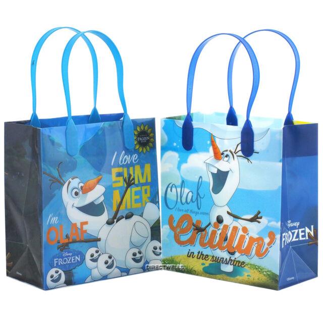 Disney Frozen Olaf Blue Premium Quality Party Favor Reusable Bag 12 Packs