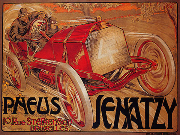CAR RACE TIRES JENATZY BRUXELLES ROAD SPEED RALLY VINTAGE POSTER REPRO