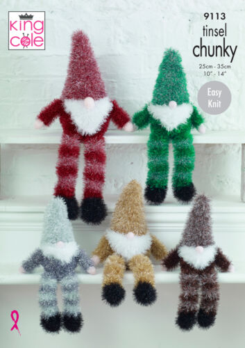 King Cole oripeaux Chunky Knitting Pattern Easy Knit Christmas gnomes 3 Tailles 9113