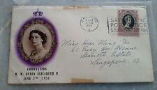Malaya Kedah FDC 1953 QE Queen Elizabeth II Coronation Singapore  chop