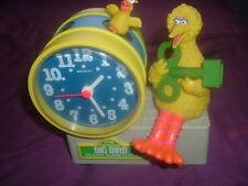 Original Sesame Street Big Bird wind up Bradley Talking Alarm Clock w/Green Key!