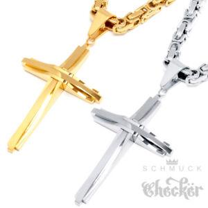 Kreuz-Anhaenger-Koenigkette-silber-gold-Edelstahl-vergoldet-Damen-Herren-Halskette