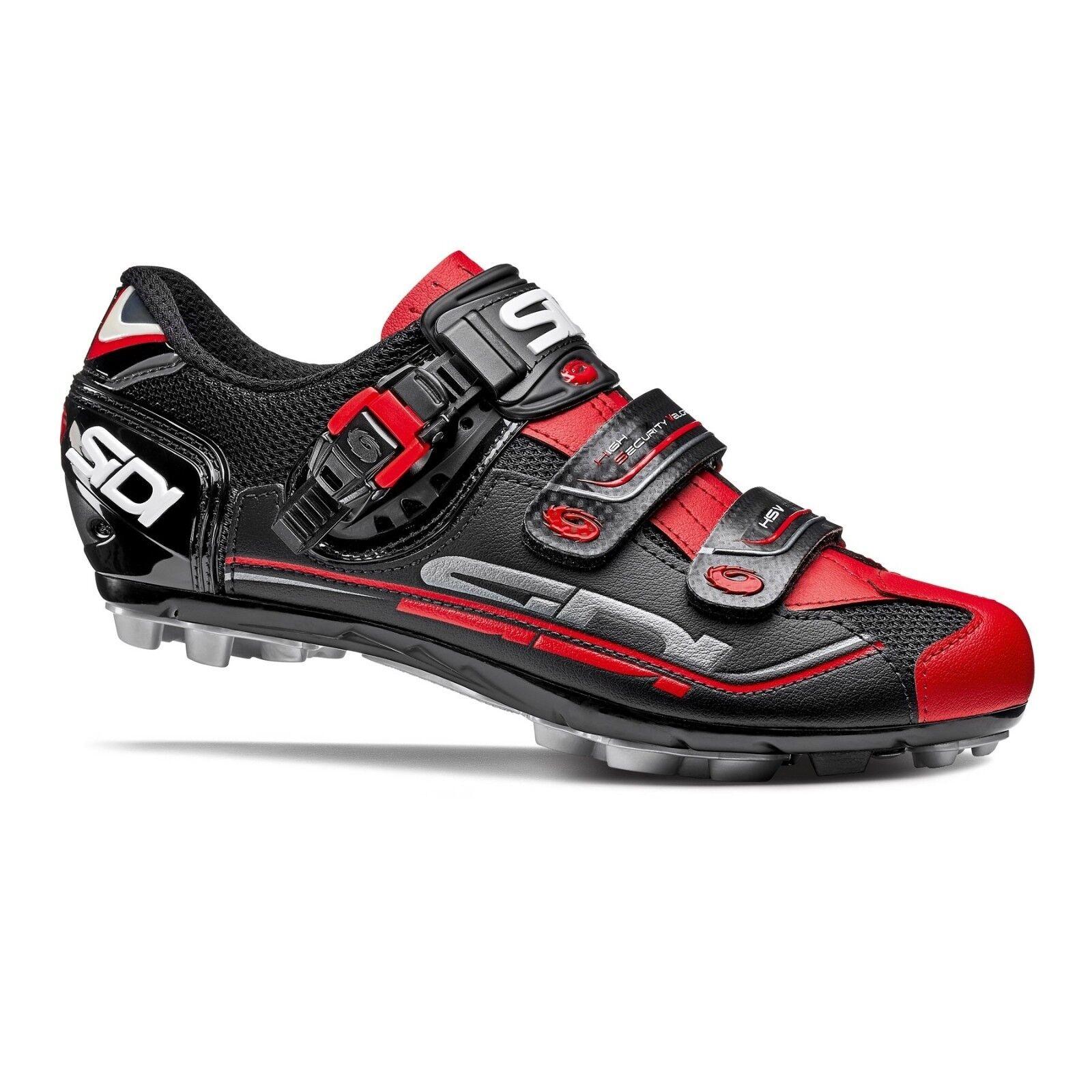 SIDI Eagle 7 Ajuste Calzado para Ciclismo Bicicleta de Montaña Bici Zapatos Negro Negro Rojo Talla 36-46 EUR