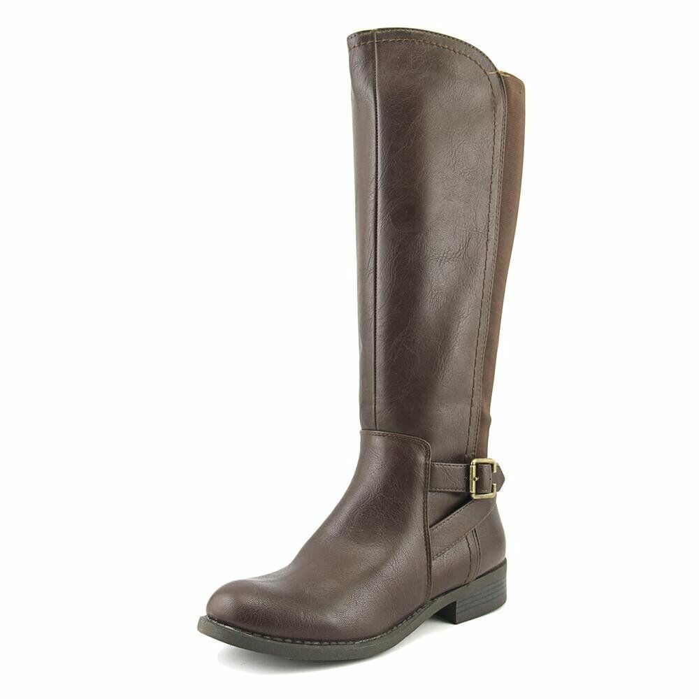 Nine West Leonore Women Round Toe Synthetic Brown Knee High Boot Dark Brown