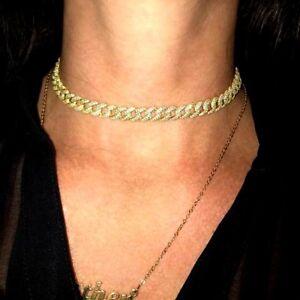 5Ct-Brilliant-Round-Cut-Diamond-Cuban-Chain-Link-Choker-14K-Yellow-Gold-Finish