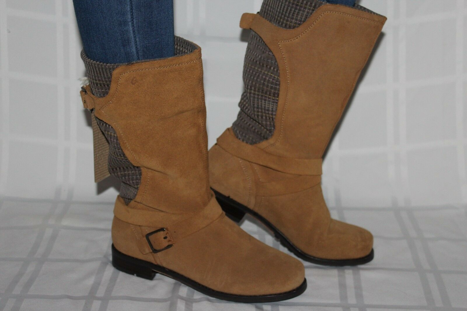 NEW  OLUKAI Cognac Leather PA'IA Mid Calf Harness Pull On Stiefel Sz 8  225