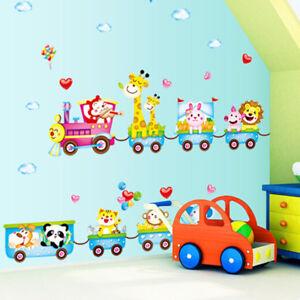 animal monkey tree train wall sticker nursery baby kids room decal home IU