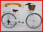 BRAND NEW VINTAGE RETRO LADIES BEACH CRUISER BICYCLE / BIKE BASKET 6 SPEED WHITE