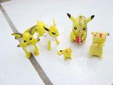 "Pokemon lot of Pikachu Pikachu w/ apple Key Fob ect lot of 5 up to 1 5/8"","