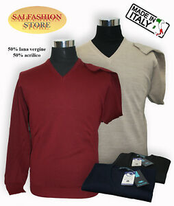 Made In Italy 50% Wolle Vergine Il Granchio Pullover Herren V-ausschnitt