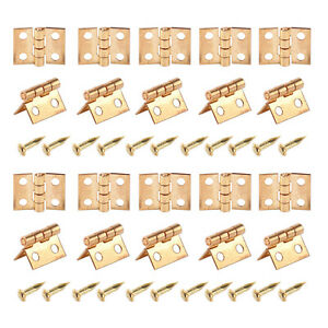 10Pcs*Mini Small Metal Hinge 1//12 House Miniature Craft Cabinet Furnitures N,de