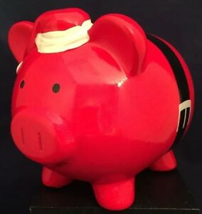 Big Bright Red Santa Claus Ceramic Piggy Coin Bank From