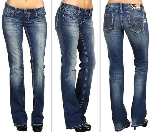Women/'s Boot Cut Saddle Stitch Jeans MEK Denim Medium Blue Wash MARRAKECH