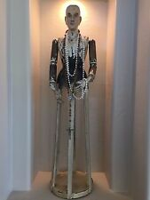 """LARGE HAND CARVED WOOD CAGE DOLL SANTOS MANNEQUIN W/ ANTIQUE ROSARY    36""""TALL"""