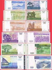 MADAGASCAR-SET-6-PCS-100-200-500-1000-2000-5000-Ariary-2004-P86-to-P90-amp-P94-UNC
