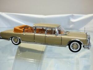Sun-Star-1-18-MERCEDES-BENZ-600-Landaulet-Golden-Toy-Car-Convertible-Stretch
