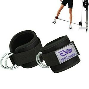 EVO-Double-D-Ring-Weightlifting-Gym-Straps-Neoprene-Ankle-Cuff-Cable-Attachment