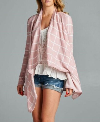 STACCATO Blush Plaid Graph Check Long Sleeve Drape Open Front Knit Cardigan