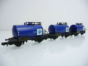 Arnold-N-1-160-4310-3-teiliger-Kesselwagen-Zug-ARAL-2-achsig-blau
