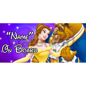 Disney Beauty /& The Beast Personalised Baby On Board Car Sign