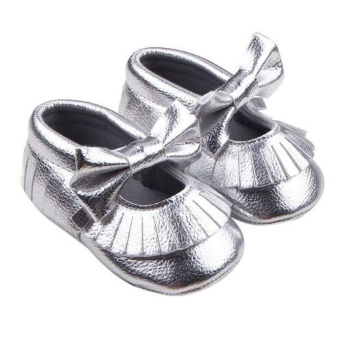 Newborn Baby Girl Toddler Soft Crib Chaussures Nœud Cuir Prewalker Landau Baskets US