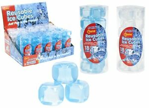 Reusable Plastic Ice Cubes Cool Cold Drinks Freezer Blocks Cooler Party Pink Blue Green