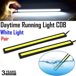 2XCar-Daytime-Running-White-Light-COB-LED-DC-12V-DRL-Auto-Driving-Fog-Strip-Lamp