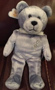 ✝✝ THE ORIGINAL HOLY BEARS: HARMONY THE MUSIC BEAR, BLUE Religious Gift Beanie