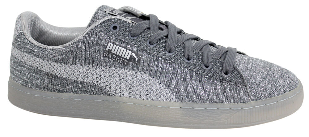 Puma Basket Knit Metallic Silver Mens Lace Up Trainers 363087 01 U95