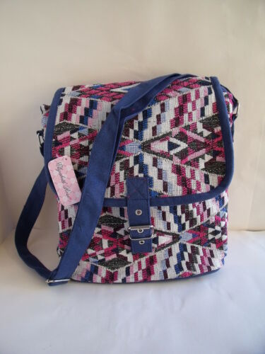 New Over Body Messenger Bag Ethnic Aztec Tapestry Fabric in Black or Pink /& Blue