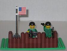 Lego Custom Minifig WW2 US Modern Warfare Machine Gun Nest with 2 Minifigs