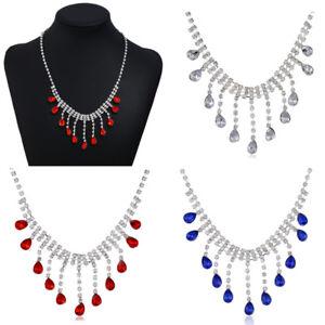 Wedding-Bridal-Crystal-Rhinestone-Pendant-Necklace-Choker-Women-Jewelry