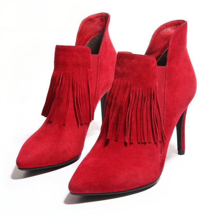Sexy Women Faux Suede Stilettos High Heels Tassel Zip shoes Ankle Boots Plus Sz