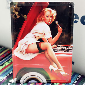 car woman Vintage sexy fixing
