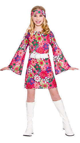 Retro Gogo Girl 60s 70s Childs Hippy Fancy Dress Kids Hippie 1960s Costume