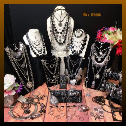 Vintage Now Jewelry Lot - Black - Silver - Lbs