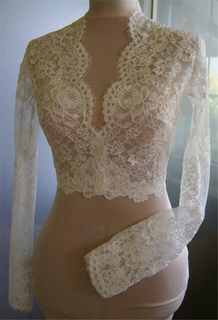 Deep V-neck Lace Wedding Bridal Jackets Long Sleeve Top Bolero Warps High Neck