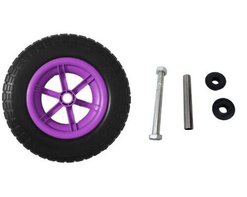 "14/"" Lilac Spoked Puncture Proof WHEELBARROW Wheel Tyre 3.50//4.00-8 Axle Set"