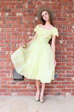 Vintage Retro Rockabilly Yellow DRESS layered skirt Sz S 2 Prom Wedding Free S&H
